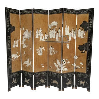 1970s Mid Century Asian Screen Folding Room Divider For Sale
