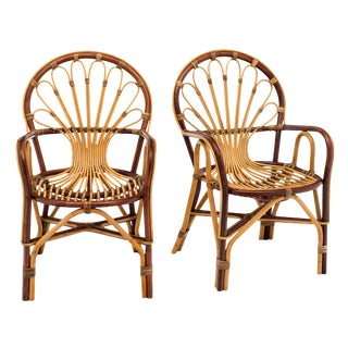 French Rattan Mid-Century Armchairs For Sale