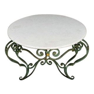 French Art Deco Wrought Iron & Stone Top Bombe Centre Table For Sale