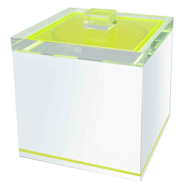 Tinsley Mortimer Fluorescent Neon Yellow and White Lucite Ice Bucket With Lid - Contemporary For Sale - Image 13 of 13