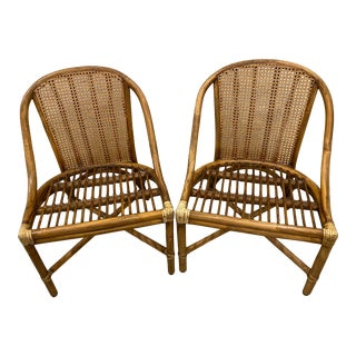 Vintage McGuire Hollywood Regency Bamboo Rattan Chairs - a Pair For Sale