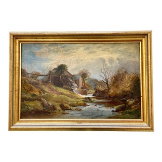 19th Century Mill Stream Oil Painting For Sale