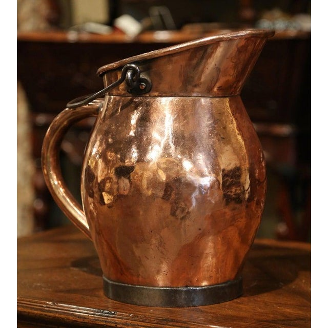 Metal 19th Century French Polished Copper and Iron Decorative Coal Bucket For Sale - Image 7 of 10