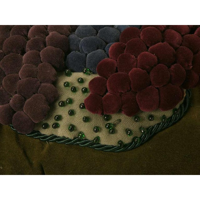 Vintage English Grapes & Butterfly Motif Velvet Pillow For Sale In Chicago - Image 6 of 11