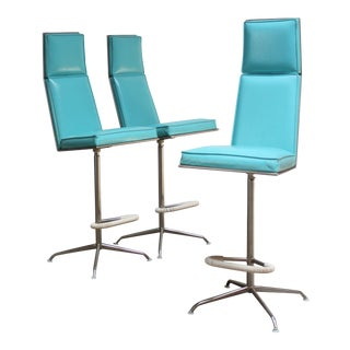 Set of Three American Modern High-Back Barstools by Jansko