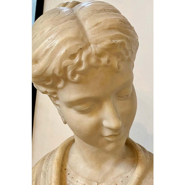 Alabaster Bust of Young Lady and a Bird, 19th-20th Century For Sale - Image 4 of 13