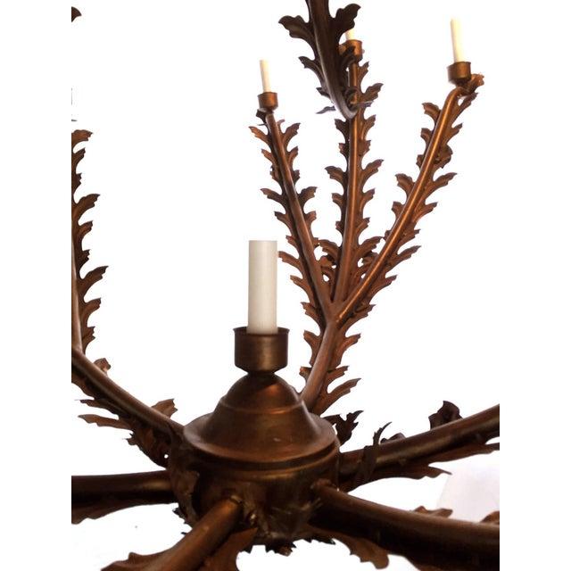 Hollywood Regency Bronzed Metal Nineteen-Light Florentine Chandelier For Sale - Image 3 of 12
