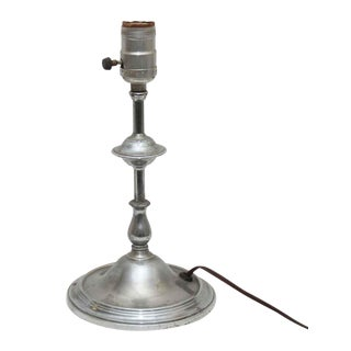 1940s Nickel Hotel Table Lamp For Sale