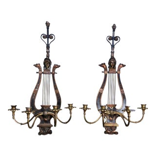Figural Neoclassical Lyre Ebonized Bronze and Brass Sconces, circa 1920 - a Pair For Sale