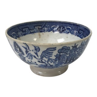 Antique Small Societe Ceramique Blue and White Willow Footed Bowl For Sale