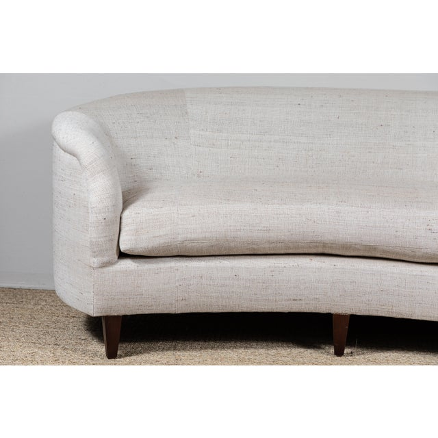 Vintage Curved Sofa With Pat McGann Workshop Upholstery Fabric For Sale - Image 4 of 11