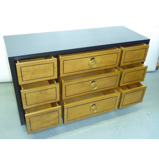 1950s Modern Ebonized Mahogany Dresser Credenza with Brass Ring Pulls For Sale - Image 4 of 11