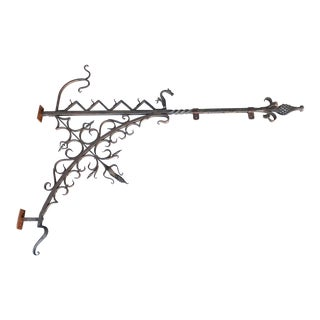 Antique Wrought Iron Dragon Wall Bracket For Sale