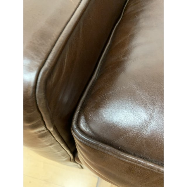 Leather Restoration Hardware Mitchell Gold Leather Armchair For Sale - Image 7 of 10