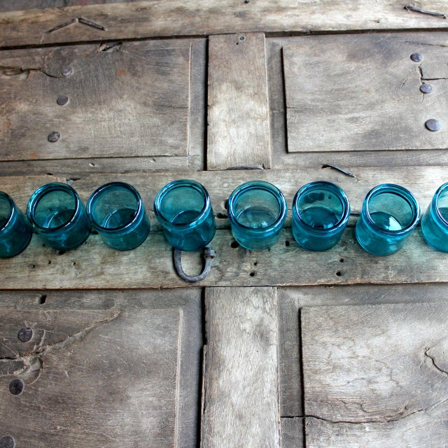 Hand-Blown Blue Glass Votive Holders - Set of 6 - Image 4 of 5