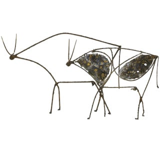 Pair of Abstract Bull Sculptures After Picasso by James Bearden. For Sale