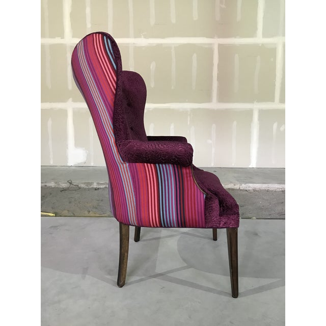 1940s Vintage Butterfly Wingback Fireside Chair Attributed to Grosfeld House Designers Guild Velvet For Sale - Image 6 of 12