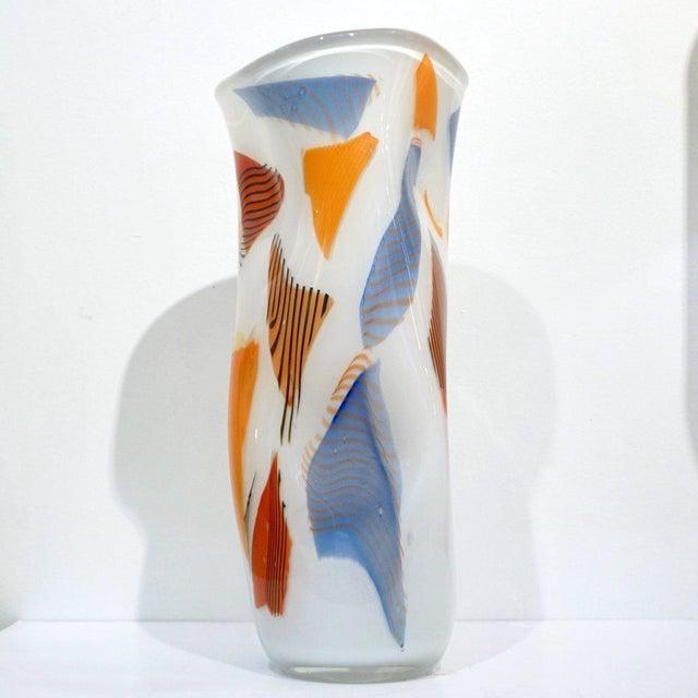 White Davide Donà Italian Free-Form White Orange Red Blue Murano Art Glass Vase - in Showroom For Sale - Image 8 of 10