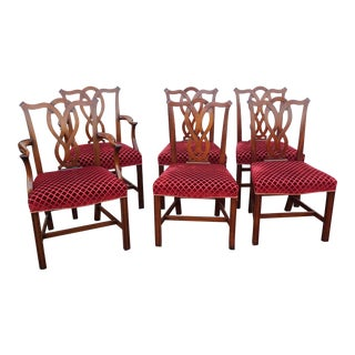 Very Fine Set 6 Statton Furniture Mahogany Chippendale Style Dining Room Chairs C1990s For Sale