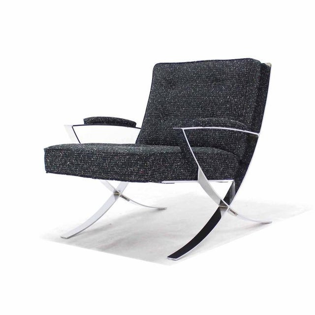 Scissor X-Base Chrome Lounge Chair with New Upholstery For Sale - Image 9 of 9