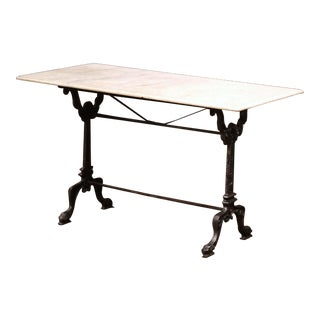 19th Century French Black Iron Bistrot Table With Original White Marble Top For Sale