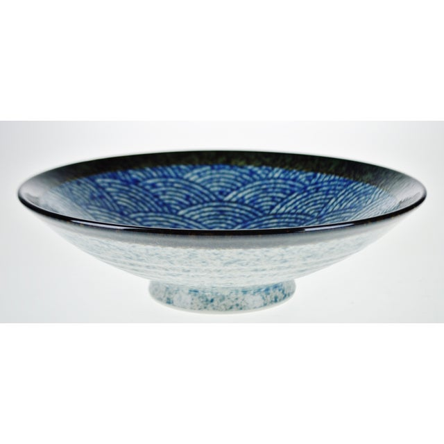 Vintage Japanese Blue Wave Pattern Ceramic Bowl - Image 11 of 11