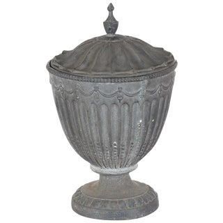 Antique Large Outdoor Lidded Metal Urn For Sale