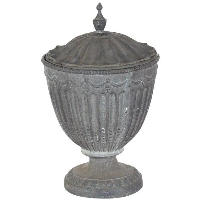 Antique Large Outdoor Lidded Metal Urn For Sale
