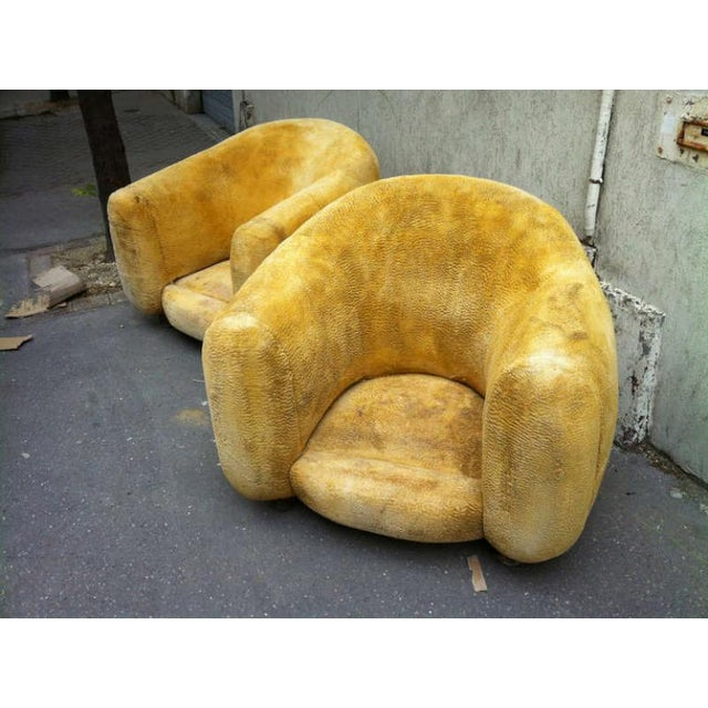 "Jean Royère Genuine Iconic ""Ours Polaire"" Pair of Armchairs in Wool Faux Fur For Sale - Image 10 of 11"