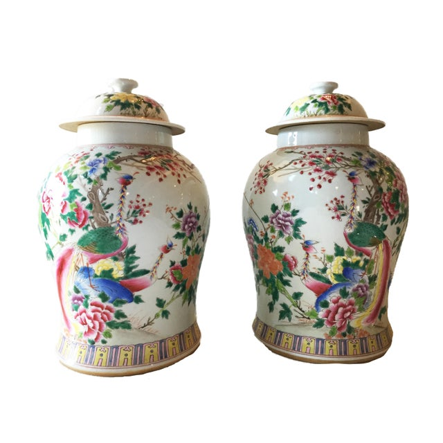 "1960s Porcelain Famille Rose Ginger Jars W/ Phoenix - a Pair 16.5""h For Sale - Image 5 of 5"