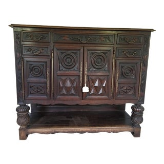 18th Century British Colonial Carved Oak Court Cupboard Sideboard Hutch For Sale