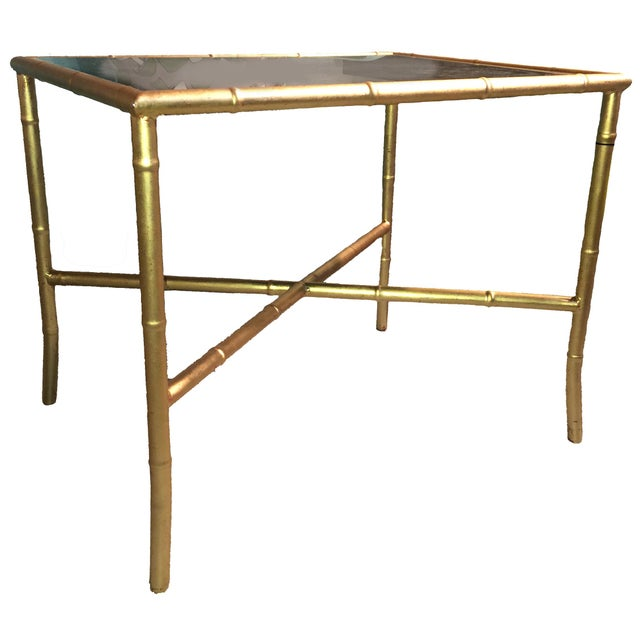 Gold Gilt Faux Bamboo and Mirror Side Table - Image 6 of 7