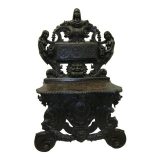 19th Century African Mythology Themed Carved English Hall Chair For Sale