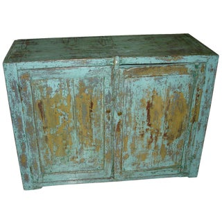 19th Century French Canadian Country Rustic Blue Painted Cabinet For Sale