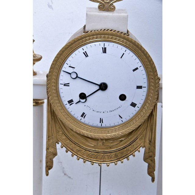 White 19th Century French Mantel Clock For Sale - Image 8 of 11