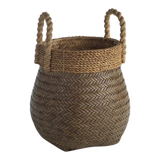 The Isola Rattan Basket With Jute Rope Handle Large For Sale