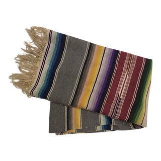1940s Wool Mexican Saltillo Serape Blanket For Sale