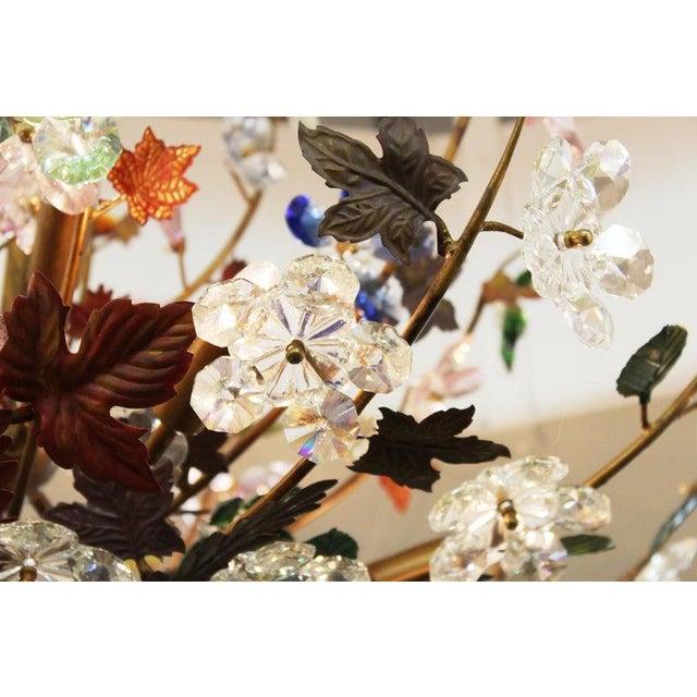 Metal 1970s Italian Mid-Century Modern Murano Glass Flower Bouquet Chandelier For Sale - Image 7 of 13
