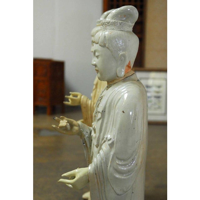 Antique White Pair of Chinese Glazed Ceramic Celestial Deities For Sale - Image 8 of 10