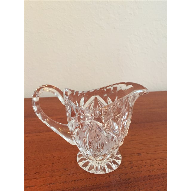 Vintage Cut Glass Cream & Sugar Set with Lid For Sale - Image 4 of 10