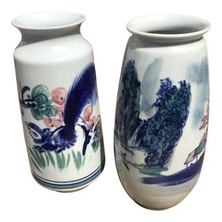 Chinese Squirrel and Grape and Landscape Vases - a Pair For Sale