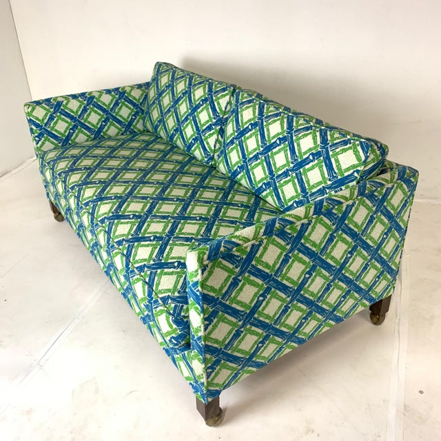 Mid-Century Modern Pair of Dunbar Style Tuxedo or Parson Settees in Lattice Bamboo Upholstery For Sale - Image 3 of 10