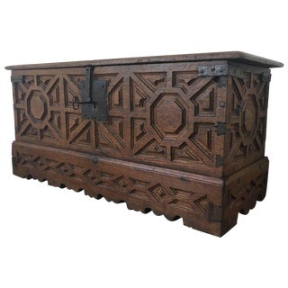 Spanish 18th Century Wood Coffer or Trunk For Sale