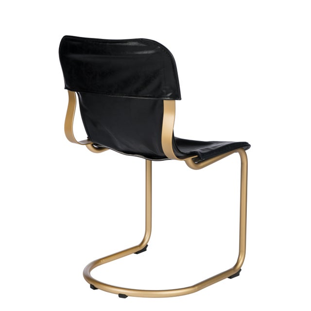 Gold stainless steel frame and black leather seat creates a relaxed modern chair. Materials: Stainless steel, PU leather...