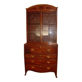 Antique Regency Mahogany Drop Front Desk Cabinet