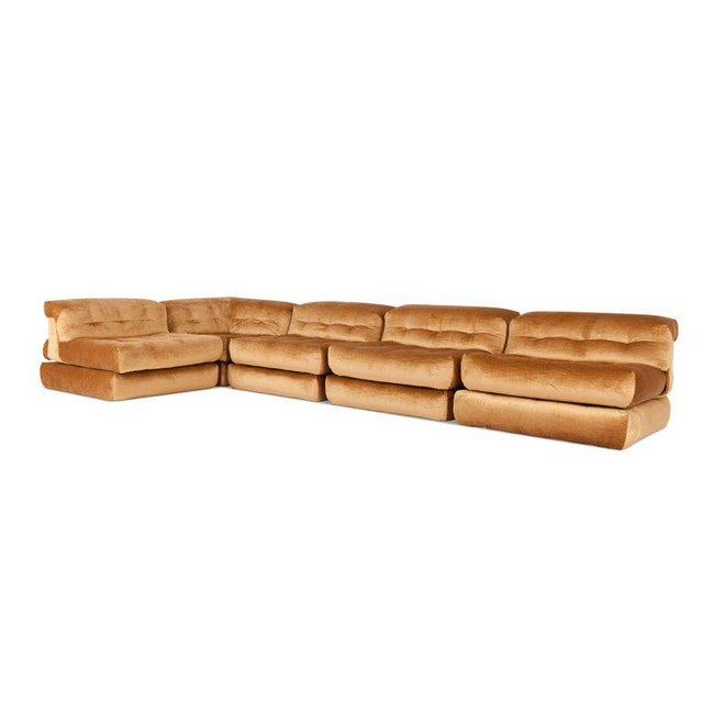 Gold Mah Jong First Edition Modular Sofa in Gold Velvet by Roche Bobois For Sale - Image 8 of 13