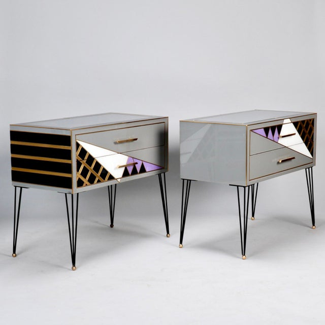 Italian Two-Drawer Cabinets with Murano Glass and Brass Inlays - A Pair - Image 11 of 11