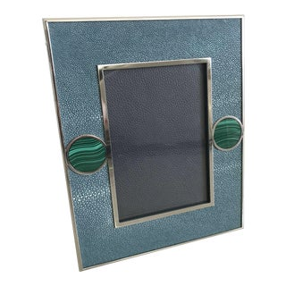 Blue Shagreen With Malachite Photo Frame by Fabio Ltd For Sale