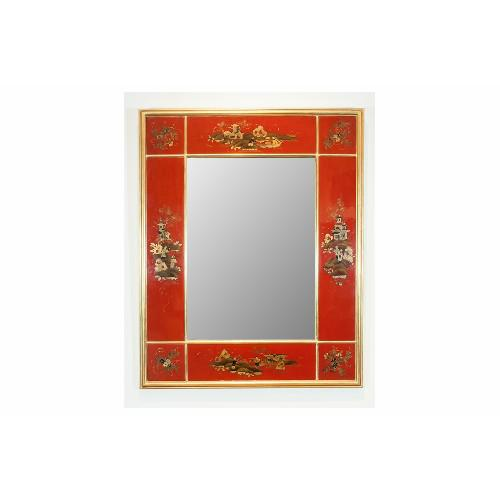 Maison Jansen Maison Jansen Giltwood and Red Japanned Mirror For Sale - Image 4 of 4