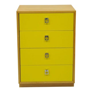 Founders Jack Cartwright Mid-Century Modern Yellow Maple & Chrome Nightstand Chest For Sale
